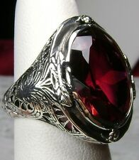 18ct Oval *Red Ruby* Solid Sterling Silver Victorian Filigree Ring Size: Choose