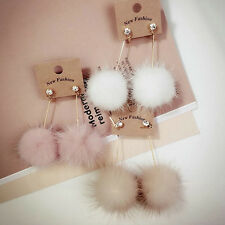 Charm Fur Women Rhinestone Long Dangle Earrings Drop Ball Earrings Ear Jewelry