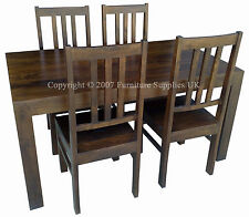 DAKOTA SOLID WOOD 150CM DINING TABLE SET WITH 4 CHAIRS (EXTRA CHAIRS AVAILABLE)