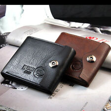 Mens Leather Thin Bifold Wallet Money Clip Card Case Trifold Holder Purse Black