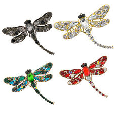 Women Fashion Dragonfly Crystal Brooch Rhinestone Scarf Pin Jewelry Sanwood