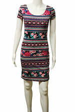 Womens New Look BodyCon Dress Aztec Floral Print Black Size 12 Ladies WD23.6