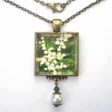 """LILY OF THE VALLEY MAY BIRTHDAY FLOWER """"VINTAGE CHARM"""" ART PENDANT NECKLACE"""