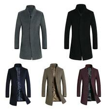 Mens Business Winter Trench Coat Wool Pea Coat Jacket Mid Long Overcoat New YT