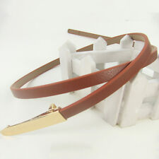 Fashion Chic Candy Color Women Skinny Belt Buckle Leather & Metal Thin Waistband