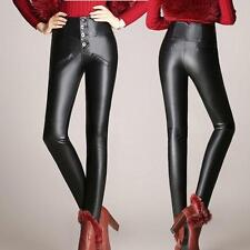 Womens Fashion High Waist Stretch Slim fit leggings faux Leather Pants Trousers