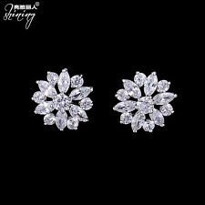 Newest Fashion Women Lady Crystal Elegant Flower Ear Stud Earrings Jewelry 1Pair