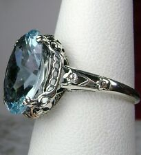 5ct *Blue Aquamarine* Sterling Silver Edwardian Filigree Ring Size MTO/Custom