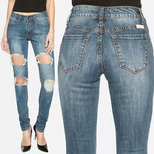 TheMogan Women's Big Distressed Destroyed Faded Stretch Denim Skinny Jeans