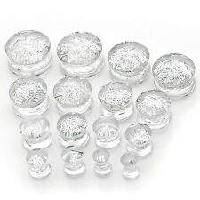 ON SALE! Acrylic Double Flared Ear Tunnels Plugs Gauges Glitter White Piercing
