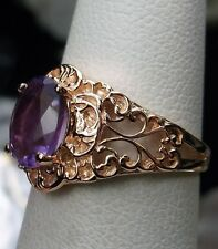 1.3ct Purple Amethyst 10k Rose Gold Victorian Filigree Ring Size {Made To Order}