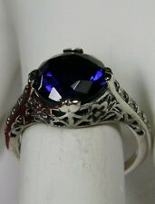 3ct *Blue Sapphire* Sterling Silver Flower Victorian Filigree Ring Size Any/MTO