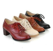 Retro Womens carving Lady oxford Chunky Heels Lace Up Brogues Shoes Pumps New YT