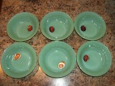 6 Fire King Jadeite Jane Ray Berry Dessert Bowls w/Labels FKOG Jadite