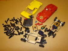 Strombecker 1/32 slot car parts lot chassis bodies track clips