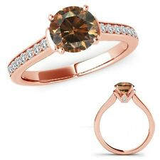 1 Ct Champagne Diamond V Prong Solitaire Ring Eternity Band Set 14K Rose Gold