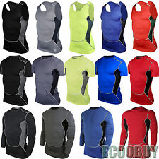 Mens Compression Baselayer Body Thermal Under Skin T-Shirt Tight Gear Sports Top