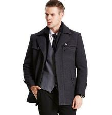 Mens Wool formal Coat Winter padded thick overCoats collar Casual Jacket New YT1