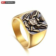 US Army Military Badge Stainless Steel Mens Ring Eagle Jewelry Band Size 8-12