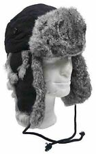 TRAPPER-BLACK-RUSSIAN-STYLE-WINTER-HAT-VERY-WARM-WITH-GREY-RABBIT-FUR