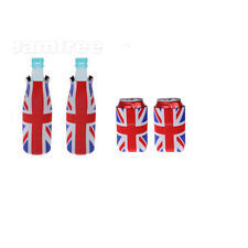 1 Pair Union Jack Britain UK Flag Stubby Beer Bottle Can Cooler Insulator Cosy
