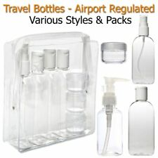 HOLIDAY TRAVEL BOTTLES 100 ML Clear Bottles Jar & Bag Airport Security Approved