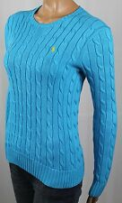 Ralph Lauren Blue Cable Knit Crewneck Sweater Yellow Pony NWT