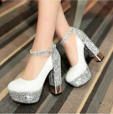 Womens Sequins Party Wedding Platform High Block chunky Heels Ankle Strap Shoes