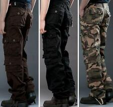 Mens cargo pants pockets camo loose camo outdoor overalls work trousers New YT @
