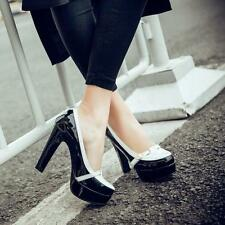 Women Fashion High Block chunky heel Platform Buckle Decor dress work Shoes Pump