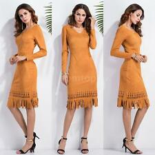 Women Suede Fringed Dress Tassel Hem V Neck Long Sleeve Party Pencil Dress U6E5