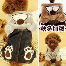 Winter Pet Dog Clothes Bear Hoodie Warm Flannel Coat Jumpsuits Four Foot Jacket
