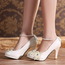 Ankle Pearl Evening Party Shoes Wedding Bridal High Heels Women Royal New Pumps