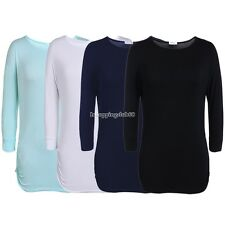Ladies Women Casual 3/4 Sleeve O Neck Solid Modal T-Shirt Tops hip-length