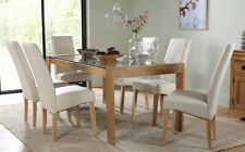 Tate 180cm Oak and Glass Dining Table and 4 6 8 Grange Chairs Set (Cream)