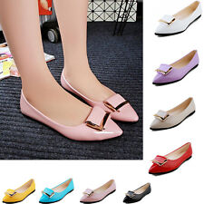 Womens Trendy OL Bukle Knot Patent Leather Pointy Pumps Court Shoes Ballet Flats