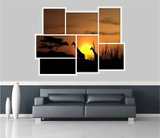 Huge Collage View Giraffes On Safari Wall Stickers Mural Wallpaper 203
