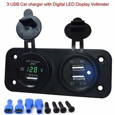 2.1A 12V Car Truck Motorbike Power Socket Voltmeter Adapter 3 USB Port Chargers