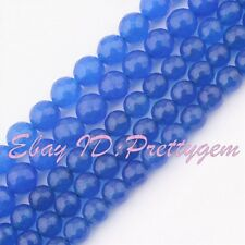 """4mm 10mm 12mm Faceted Round Blue Jade Gemstone For DIY Jewelry Making Beads 15"""""""