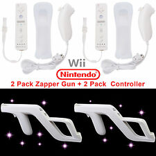 2PCS Motion Plus Remote&Nunchuck Controller+Case+Zapper Gun for Nintendo Wii