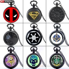 Steampunk Black Pendant Quartz Vintage Pocket Watches Gift Necklace Chain Retro