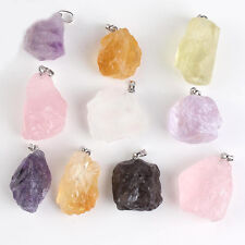1Pc Unisex Alloy Natural Crystal Irregular Stone Charm Pendant Necklace Jewelry