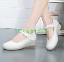 Hot Womens Leather Wedge Buckle Nurse Work Casual Hospital Nursing Shoes New YT