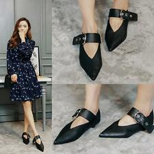 Chic Womens Flat Heels Oxford Gothic Pointed Toe Buckle Strap Loafers Shoes New