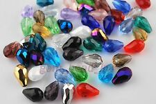 Lots 30Pcs Glass Crystal Faceted Jewelery Findings Spacer Teardrop Beads 10x15mm