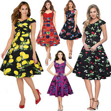 8-20 Womens Vintage Lemon Print Dress 50s Rockabilly Cocktail Party Swing Dress