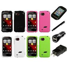 For HTC Rezound Rigid Plastic Hard Snap-On Case Phone Cover Charger Stylus