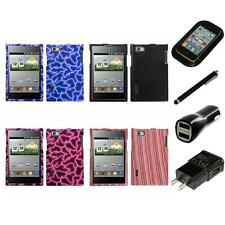 For LG Optimus Vu P895 Design Snap-On Hard Case Phone Cover Charger Stylus