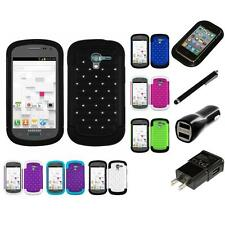 For Samsung Exhibit T599 Bling Rhinestone Hard 2-Piece IMPACT Case Charger