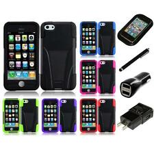 For Apple iPhone 5C Hard Stand Soft Silicone Skin Case 2-Piece Cover Charger